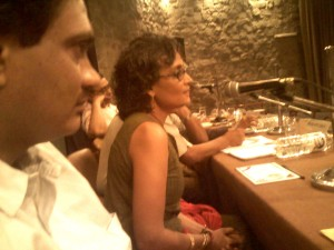Panel members Arundhati Roy & Aniruddha Bahal. Photo: B. Sarwar