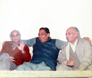 Dr Sarwar with his friends Syed Sibte Hasan and Faiz Ahmed Faiz.    Photo by Dr Haroon Ahmed