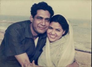 Newly weds circa 1962: Zakia and Sarwar at Karachi beach