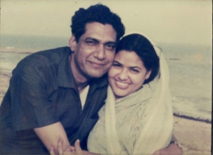 Newly weds circa 1962: Zakia and Sarwar at Karachi beach