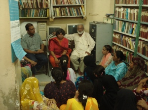 India's Kavita Srivastava meets Pakistan's Rajasthani women. Also pictured Haris Gazdar (left) and Karamat Ali. Photo: YPC