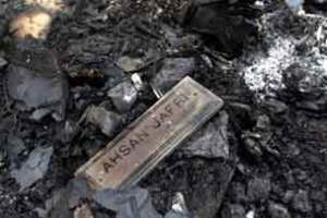 Name plate from the charred remains of murdered MP Ahsan Jafri's house