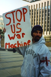 Emmanuel Ortiz protests in front of the Minneapolis Federal Building against the U.S. bombing of Sudan and Afghanistan - August 21, 1998 (http://www.cpinternet.com/mbayly/facesofresistance1.htm)