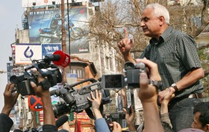Kanak Dixit addresses a protest rally in April, 2006, Kathmandu, in support of the general strike by seven major Nepali political parties and Maoists (Photo: Shehab Uddin)