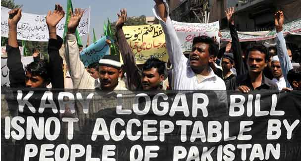 Photo from the demonstration on Oct 11. Courtesy www.dawn.com