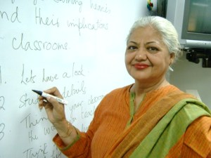 Zakia Sarwar at the Spelt office, May 2004. Photo: Beena Sarwar