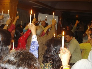 Spelters raise candles to celebrate 25 years - and counting. Photo: K.B. Abro