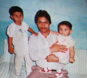 Karachi: Idrees with two of his boys. He hasn't seen them in 13 years.