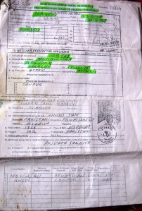 Idrees' India visa form 1999