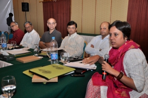 Barkha Dutta (right) at an Aman ki Asha journalists' conference in Karachi, 2010