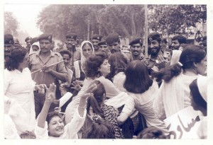 Feb 12, 1983: Many women's rights demonstrators were injured and arrested, heavily outnumbered by police. Photo: Rahat Ali Dar