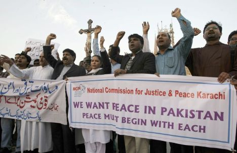 Demonstration in Karachi against the attack on Christians' homes in Lahore. AP Photo/Fareed Khan