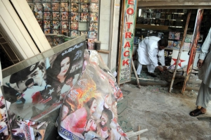 Peshawar, 2011: A music shop being restored after attack by Taliban. Photo: Ashfaq Yusufzai/IPS