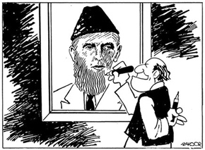 Cartoon by Zahoor, reproduced in Nadeem Farooq Paracha's article on Pakistan 'ideology', Dawn, April 19, 2012 http://bit.ly/10Nfsg7
