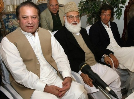 "Lahore, Dec 9, 2007: (L-R): Nawaz Sharif. Qazi Hussain Ahmad and Imran Khan meet to discuss whether to boycott January 8, 2008 polls. ""Boycott, and then what?"" asked Benazir Bhutto who convinced Sharif to participate in the polls. The rest is history. Photo: Arif Ali/AFP/Getty Images"