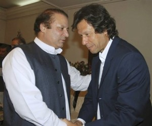 Nawaz Sharif and Imran Khan, 2007. Post election 2013 - allies again? AP photo