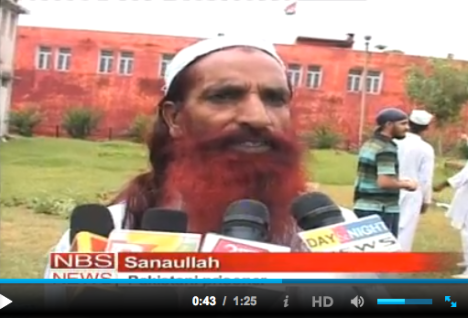 """Screenshot of Sanaullah from a TV report last year, on Indian and Pakistani prisoners participating in a kite-flying festival together. """"It's really nice, I feel like a child myself,"""" Sanaullah told the reporter."""
