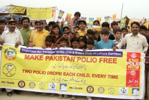 Children at a polio awareness walk in Faisalabad. Photo: courtesy Rotary