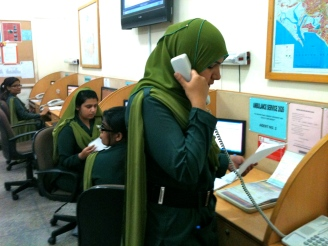 Emergency Medical Dispatchers (EMDs) answering calls for ambulance at the Aman Command and Control Centre (C&C)