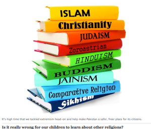 Visual from the Express Tribune blogpost: Teaching Comparative Religion: Lahore Grammar School did the right thing