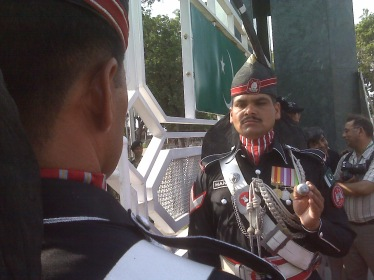 Wagah border guards: Putting on a macho show. Photo: Beena Sarwar, 2010