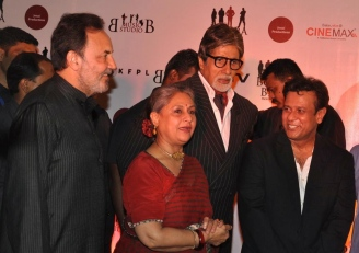 At a special screening in Mumbai: Dr Prannoy Roy, Jaya Bachchan, Amitabh Bachchan with Bedabrata Pain. Rediff photo