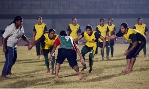 Pakistan women's kabaddi team at practice. AFP photo