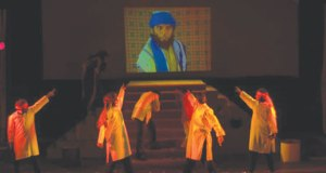 A scene from Ajoka's production of 'Hotel Mohenjodaro' by Ghulam Abbas