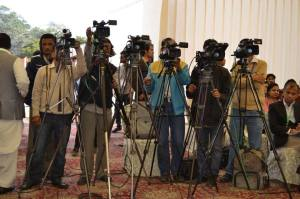 The media were there in full force at the conference