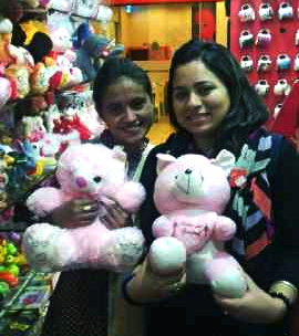 A pink teddy bear for Hina: Kiran with Xaverian Sadiqua