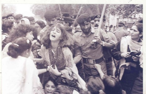 Lahore, Feb 12, 1983: Police lathi charge demonstrators. Photo: Rahat Ali Dar