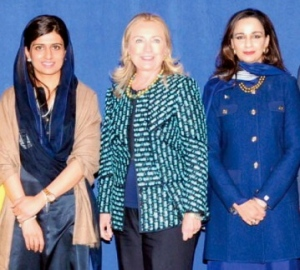 Foreign Minister Hina Rabbani Khar and Ambassador Sherry Rehman at the launch of the US-Pakistan Women's Council with Secretary of State Hillary Clinton. PHOTO: INP