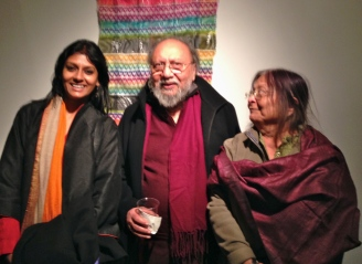 Nandita Das with Prof. and Mrs Ashis Nandy: old friends from Delhi catching up at Brown University