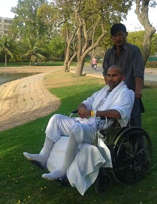 Sadaat Hussain, Mr Pakistan 2003, and Mr Hazara several times, now paralysed from the waist down