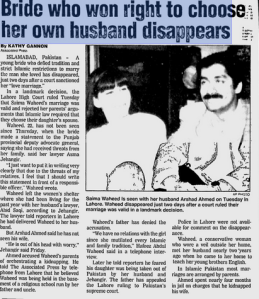 News report, March 15, 1997 - Saima fled Pakistan with Arshad shortly after the court ruled their marriage valid
