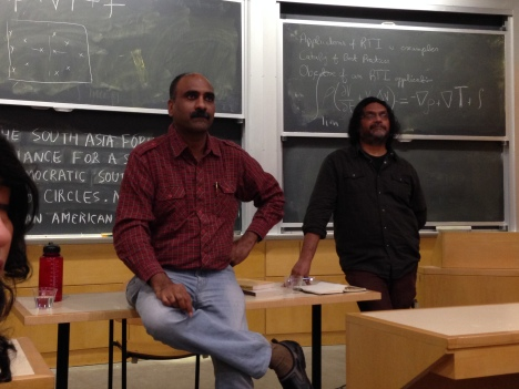 Manoj Mitta speaking at MIT. Credit: Beena Sarwar