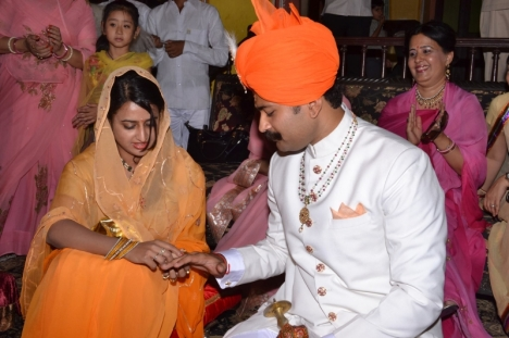 Roka ceremony: Exchange of rings between Karni Singh Sodha and Padmini Singh Rathore, Jaipur, Jun 2014