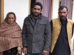 JPP investigator Yasir Shahbaz (centre) with Shafqat's Mother and brother inAJK