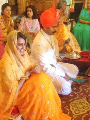 Bridal couple: at the Roka (ring exchange) ceremony in Jaipur, June, 2014