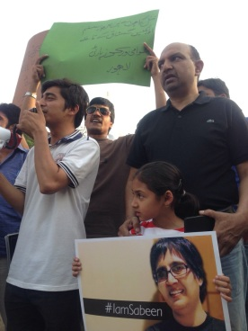 Citizens in Lahore at a #Rally4Sabeen. Photo: Farooq Tariq