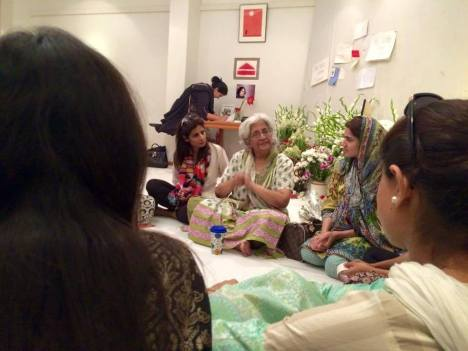Memorial meeting for Sabeen on Sunday at T2F, with her mother Mahenaz (white hair). Photo: Zain Mustafa