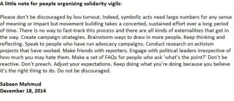 Sabeen's advice to people organising solidarity vigils, Dec 18, 2014 (in the wake of the Peshawar APS massacre)