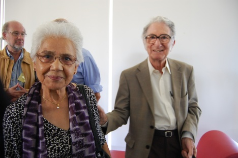 Sydney, Feb 17 2015: Christian Matthiessen, Ruqaiya Hasan and Michael Halliday at a symposium in honour of Michael in his 90th year. Photo by Lexie Don, courtesy Frances Christie.