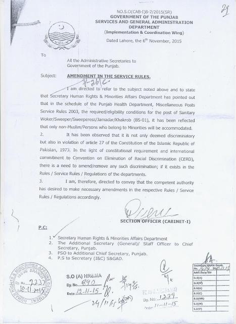 Punjab govt Order-Nov 6-2015