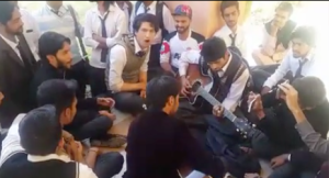 Still from the video of an impromptu performance by students in Quetta