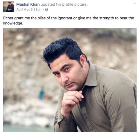 "Mashal Khan: student, poet, humanist, ""voice of the voiceless"""